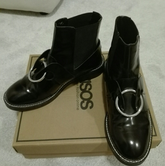 970a7fb8f59 ASOS ADEL Leather Ring Ankle Boots